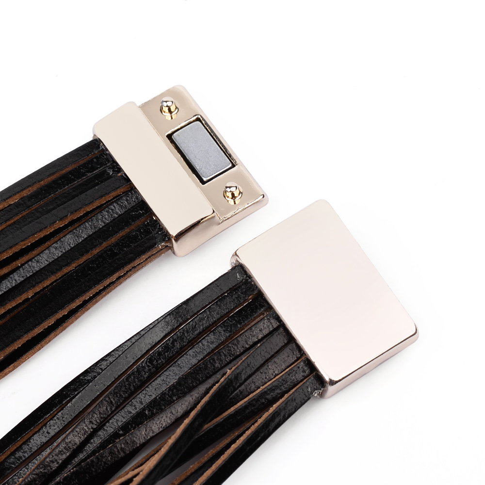 Boho Multilayer Leather Wrap Bracelets For Women Men Punk Gold Tube Magnetic Clasp Red Black Brown Rope Bracelet Jewelry BC375