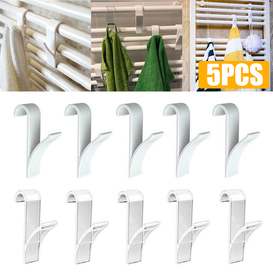 5pcs/lot Transaparent White Towel Mop Coat Hooks Storage Hanging For Bath Heated Radiator Clothes Hanger Organizer Decoration