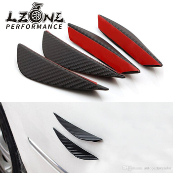LZONE - Universal 4pcs Fit Front Bumper Lip Splitter Fins Body Spoiler Canards Valence Chin for subaru mercedes w204 bmw e46 image