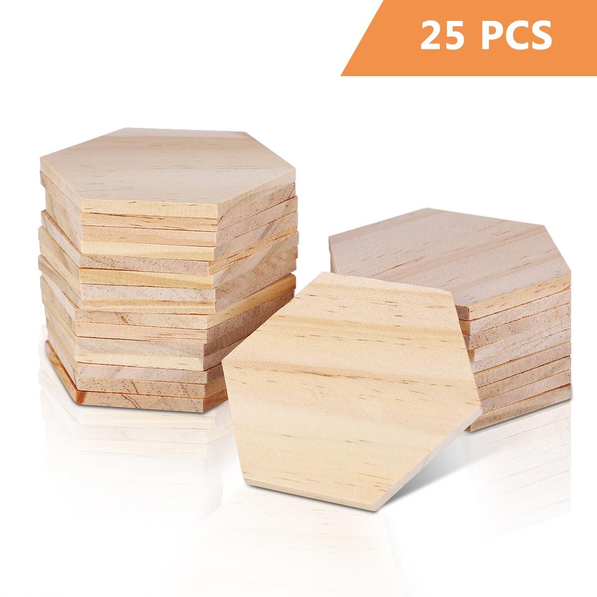 SUPVOX 25 шт. 9 см кусочки дерева шестиугольная пустой Именные Бирки деревянный стол для дисков деревянные украшения для вечерние свадебные укр...