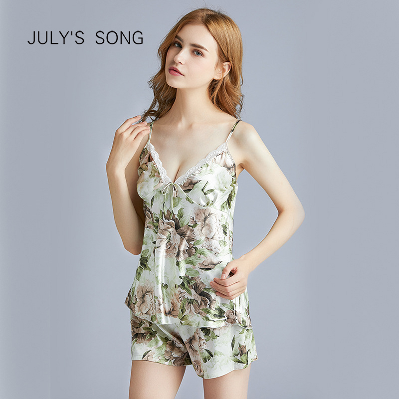 JULY'S SONG Women Faux Silk V-Neck Pajama Set Top And Shorts Sleeveless Sleepwear Set Sling Night Clothes Homewear