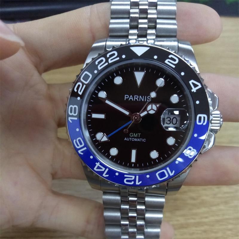 Marca de Luxo Parnis Azul Preto Moldura Mecânica Automática Relógios Masculinos Gmt Safira Cristal Homem Mergulhador Relógio Masculino Topo 40mm
