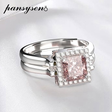 PANSYSEN Specail 2 Side Ring Solid 925 Sterling Silver Adjustable Pink Sapphire Diamond Rings Women Wedding Birthday Party Gift