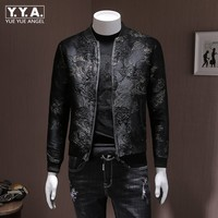 Fashion Mens Autumn Floral Embroidery Bomber Jacket Slim Fit Stand Collar Casual Outwear Coat Plus Size 5XL Streetwear Jackets