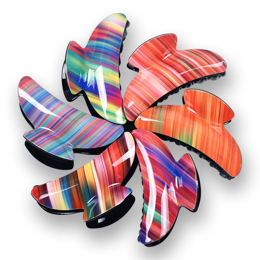 9cm Rainbow Stripes Big Claw Hair Clip Crab Clamp Acrylic Accessories For Women Headwear 2020 Christmas Gift Head Band 21011