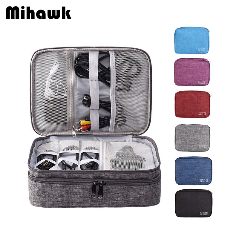 Mihawk Travel Cable Charger Organizer Bags Women Digital Makeup Headphones Cable Electronic Power Bank Devices Pouch Accessories