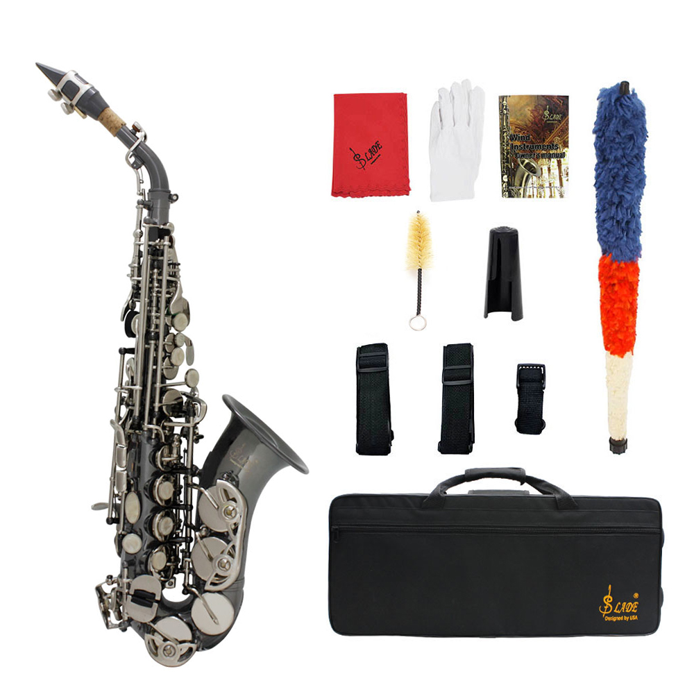 Bb Soprano Saxophone Sax Brass Material Black Nickel Plated Woodwind Instrument with Carry Case Gloves Cleaning Cloth Brush
