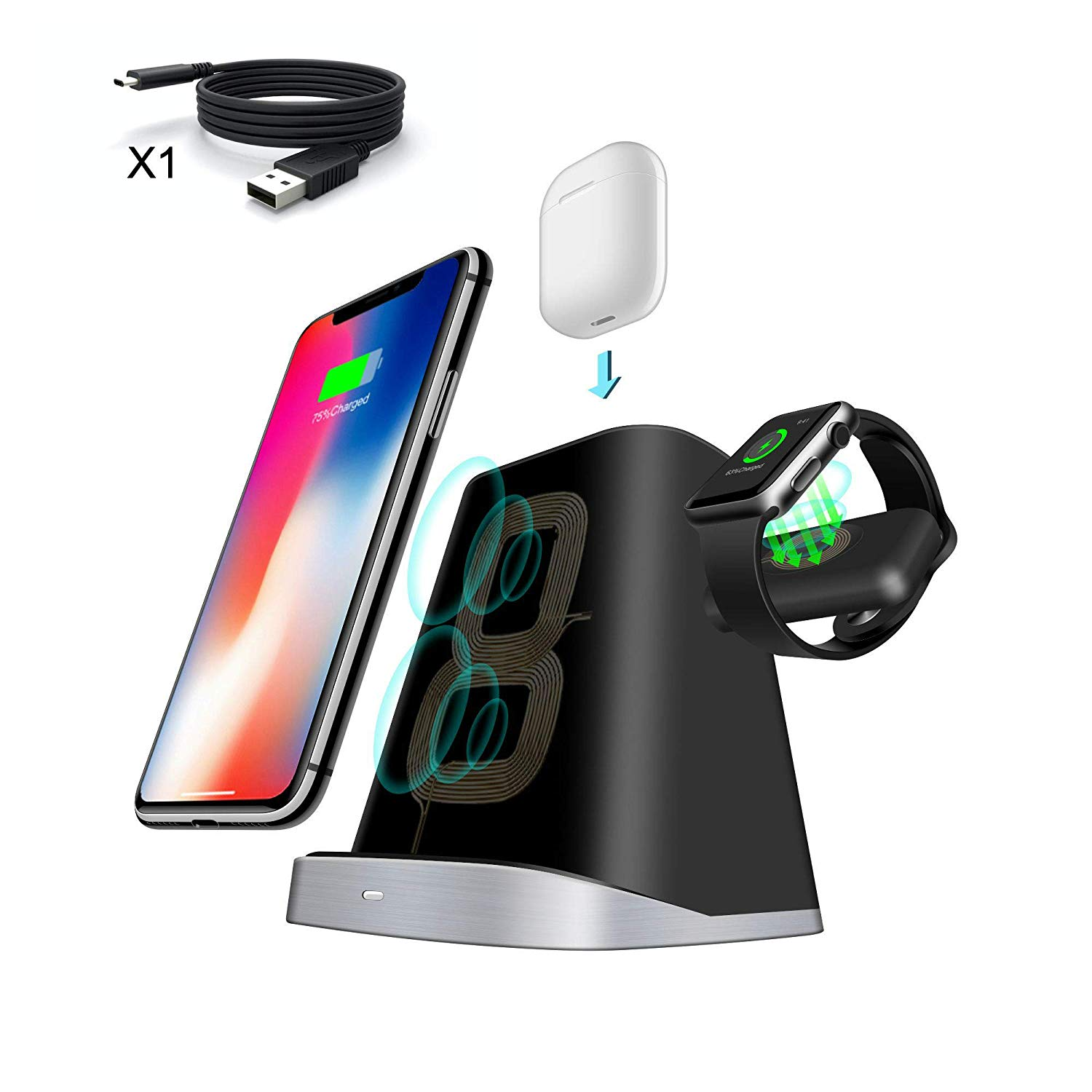 3 in 1 Wireless Charging Station. Adjustable Wireless Charger. Compatible with iPhone, Apple Watch, AirPods Desktop Stand