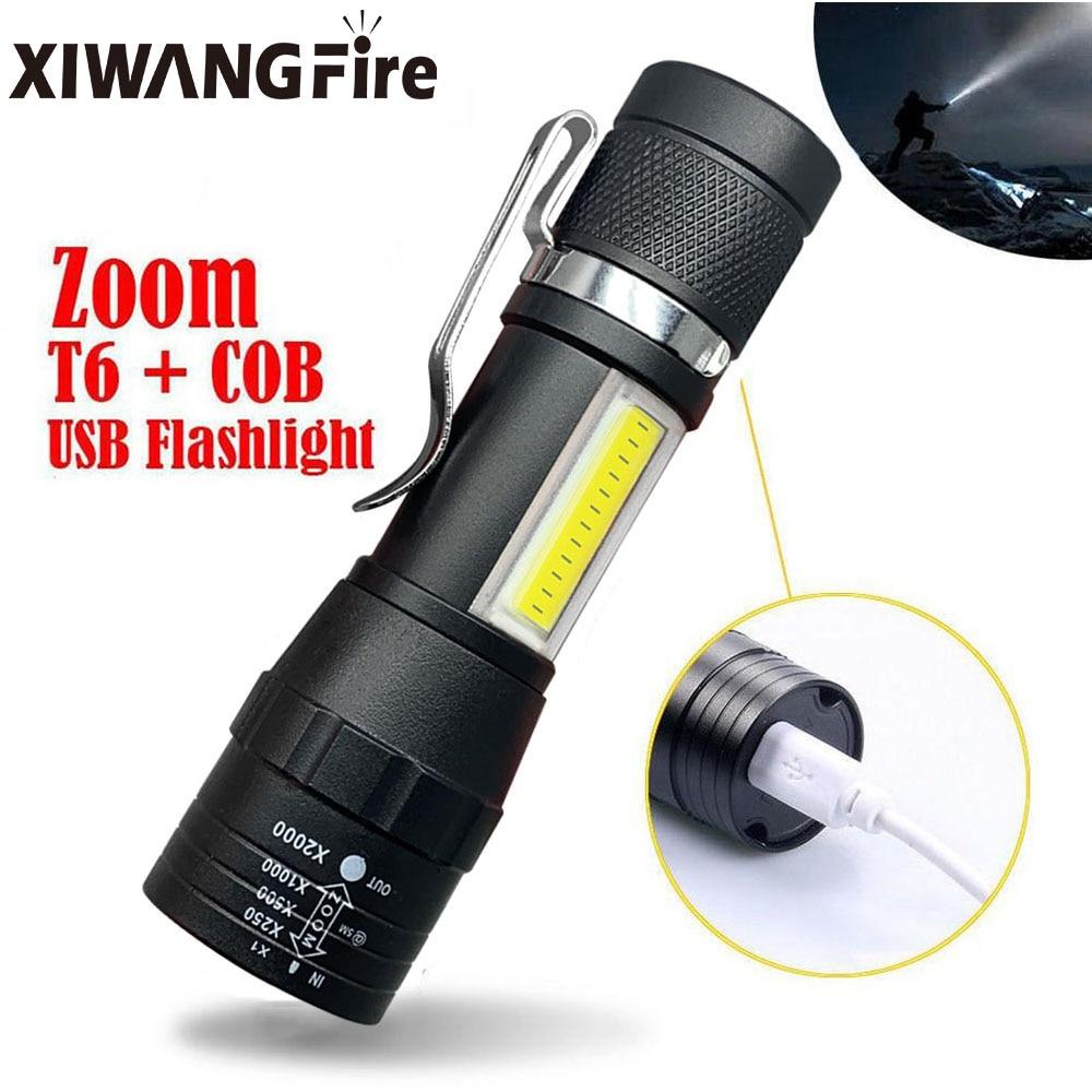 Портативный светодиодный вспышка светильник T6 COB светильник Перезаряжаемые вспышка светильник встроенный Батарея зум, светодиодная вспыш...