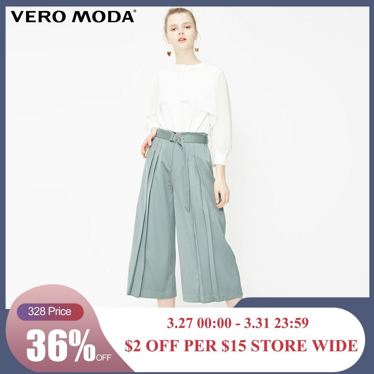 Vero Moda Women's Waist Belt Pleated Wide-leg Capri Pants | 31926J519