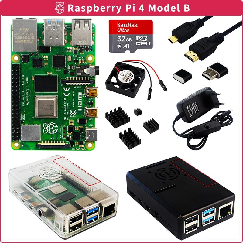 Raspberry pi 4 2gb/4gb/8gb ram + caso + cartão + adaptador de alimentação + ventilador de refrigeração + dissipador de calor + cabo de vídeo para raspberry pi 4 modelo b