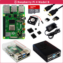 Raspberry Pi 4 2GB/4GB/8GB RAM Kit + ABS Case + SD Card + Power Adapter + Heat Sink + Video Cable for Raspberry Pi 4 Model B