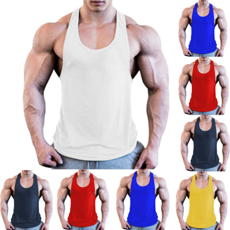 Summer Men Casual Sleeveless Loose Gym Muscle Shirt Tank Top Sports Bodybuilding Fitness Athletic Vest Singlets
