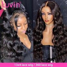 Luvin объемные волнистые 360 кружевных фронтальных париков 30 32 дюйма предварительно выщипываемые натуральные волосы бразильские 13х6 человечес...