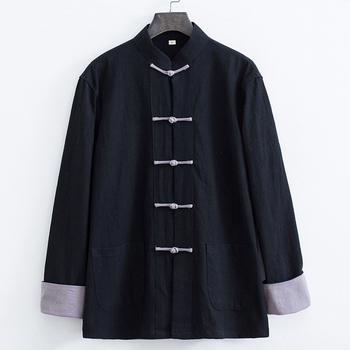 2021 tradycyjna chińska odzież dla mężczyzn retro strój tang topy pościel z długim rękawem solidne kurtki kung fu chiński styl hanfu bluzka tanie i dobre opinie CN (pochodzenie) Pełna COTTON Linen Oddychające Pasuje prawda na wymiar weź swój normalny rozmiar Suknem