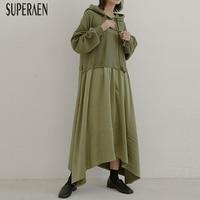 SuperAen Fake Two piece Dress Female Autumn and Winter Wild 2019 New Women Dress Cotton Hooded Drawstring Women Clothing