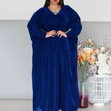 Muslim Plus Size Dress Spring Autumn Fashion Loose Simple Designer Thin Best Sellers Diamond V-neck Bat Sleeve