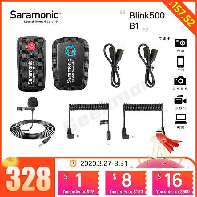 Saramonic点滅500シリーズB1 B2 B5 B6 2.4ghzデュアルチャンネルワイヤレスマイクシステムとラベリアBlink500 vs rodeワイヤレス行く