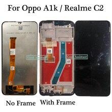 Oppo A1k CPH1923 / Oppo Realme C2 RMX1941 RMX1945 LCD 디스플레이 터치 스크린 디지타이저 어셈블리 프레임 용 오리지널 블랙 6.1 인치