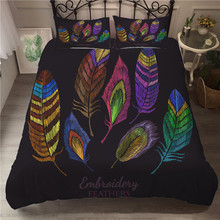 A Bedding Set 3D Printed Duvet Cover Bed Peacock Feather Home Textiles for Adults Bedclothes with Pillowcase #KQ02