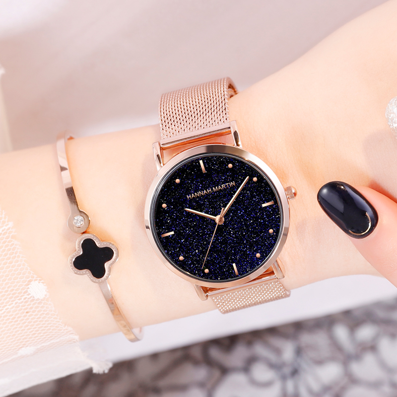 New Fashion Women Watch Stainless Steel Rose Gold Mesh Unique Simple Casual Quartz Waterproof Wristwatches Clock Hot Sale