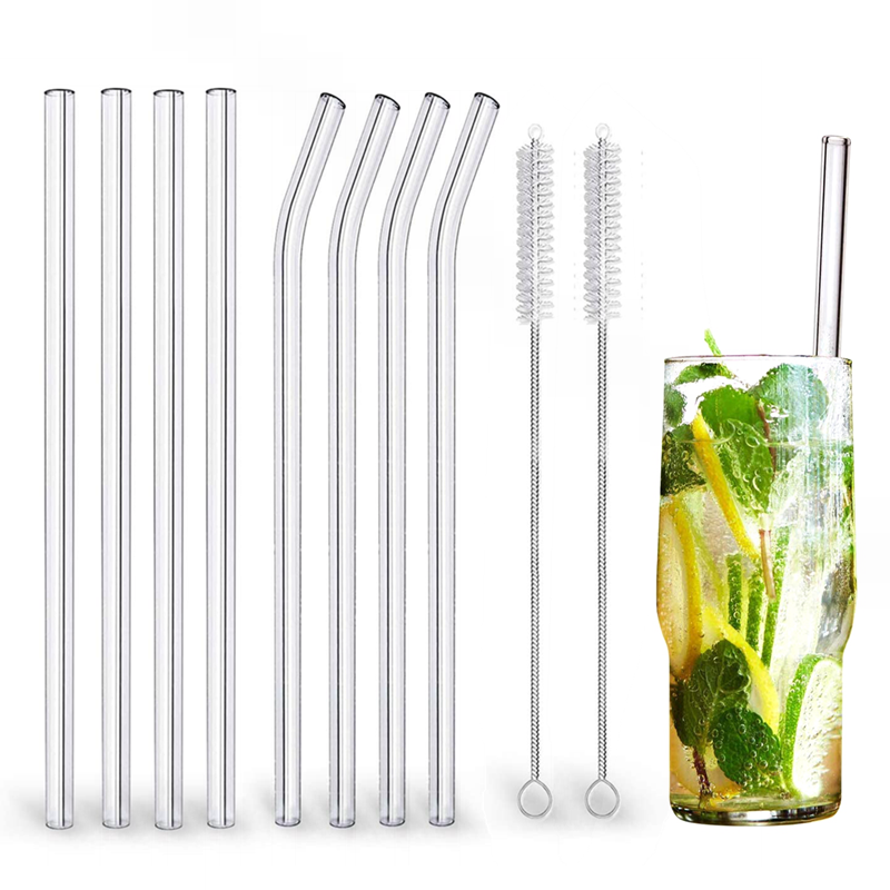 Glass Straws Brushes Cocktails-Bar-Accessories Eco-Friendly Smoothies Reusable High-Borosilicate