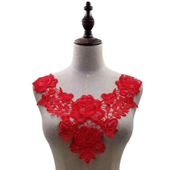 Di lusso di rosa di cotone del fiore del ricamo del collare del merletto del Tessuto Da Cucire Applique FAI DA TE guipure ribbon trim scollatura del mestiere decorazione di cerimonia nuziale