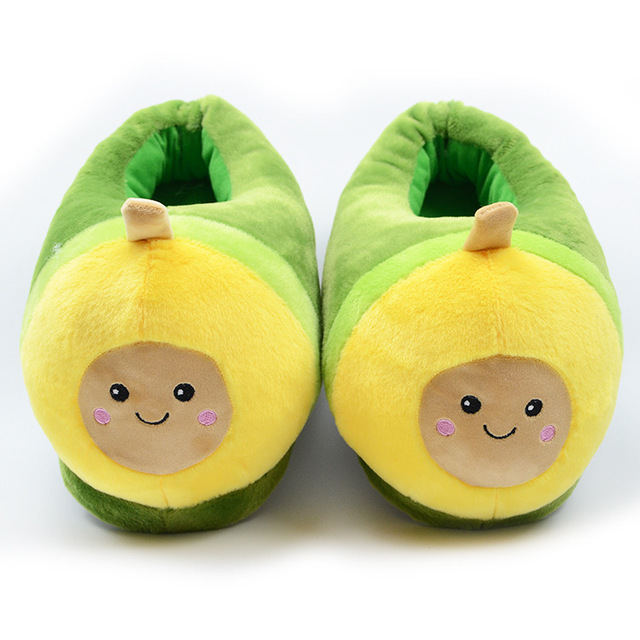 Kawaii Plush Avocado Slippers Fruit Toys Cute Pig Cattle Warm Winter Adult Shoes Doll Women Indoor Household Products size 35-43 1