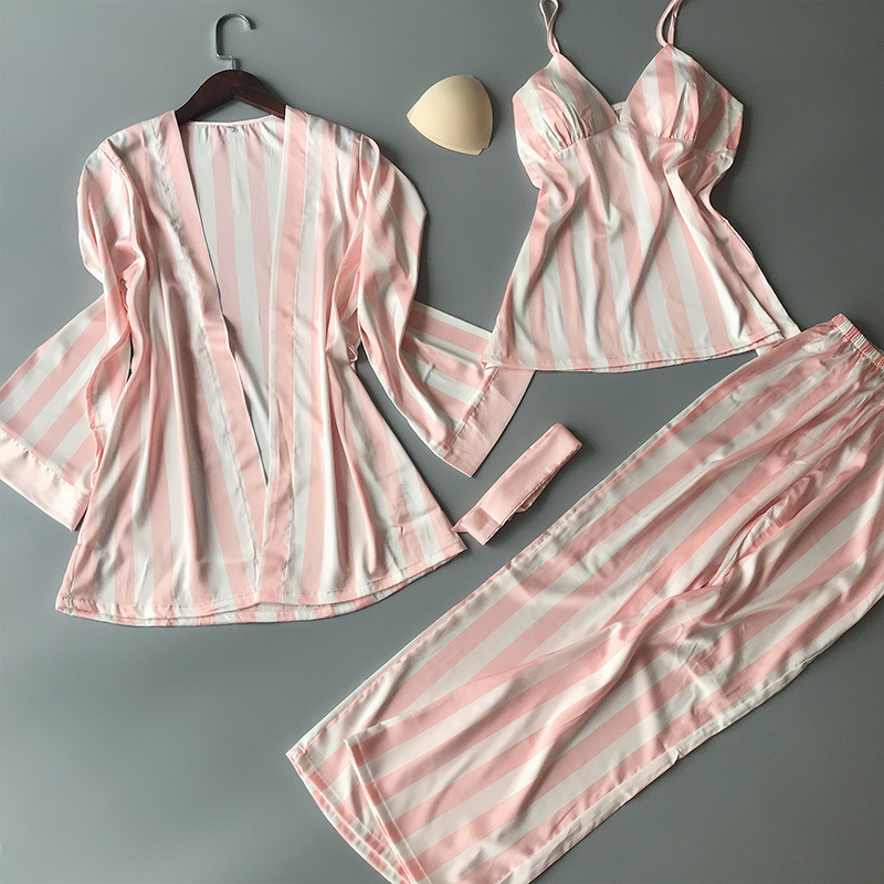 New Style Vertical Stripe Pajamas Women's Three-piece Set-Silk Long Sleeve Women's Robes Camisole Trousers Chest Pad Sexy Home W