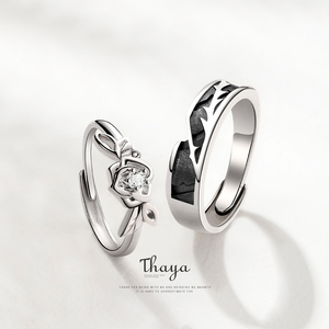 Image 2 - Thaya Original Design 925 Sterling Silver Crystal Romantic Rose Couple Rings For Engagement Gift Women Rings