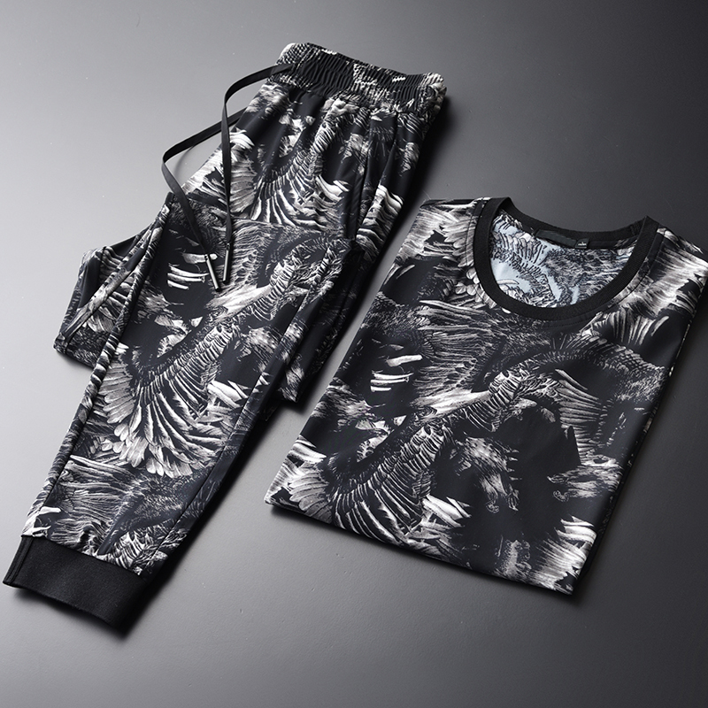 Printed Man (T-SHIRTS+PANTS) Plus Size 4xl Luxury Summer Short Sleeve Men With Pants Round Collar Mens Sets