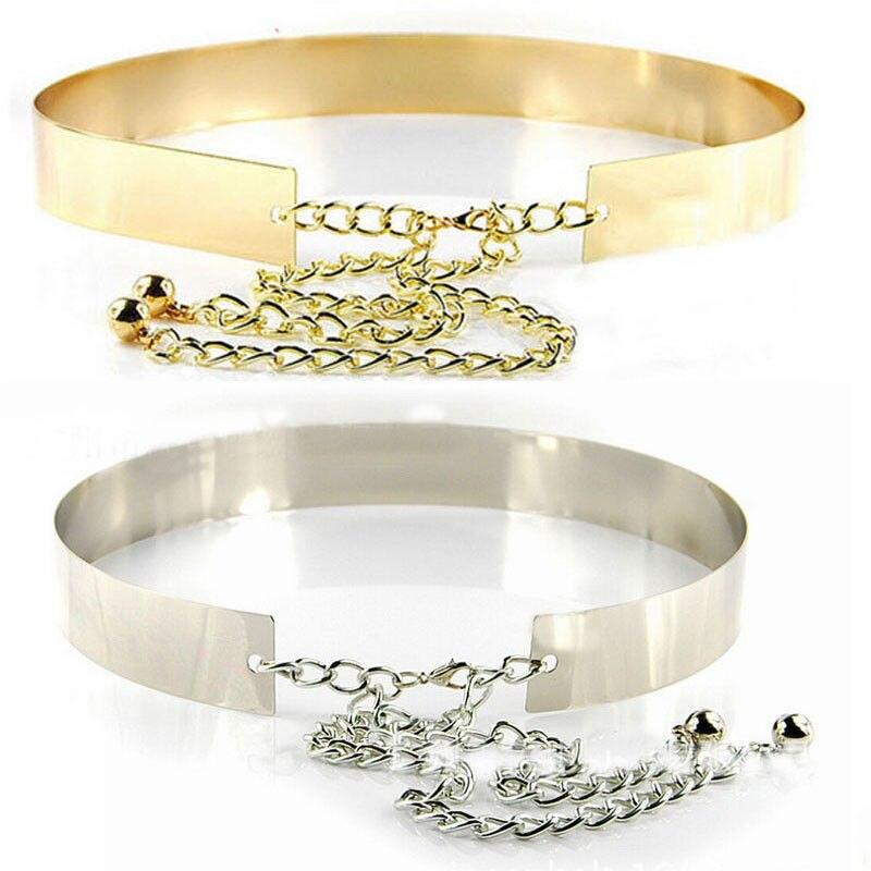 Hot Sale Women Full Metal Waist Mirror Wide Gold Silver Plate Waistband Chains Belt Female Girls Trendy Belts