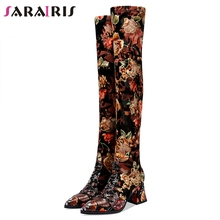 SARAIRIS Fashion Print Genuine Leather Suede Thigh High Boots Women 2019 Sexy Over Knee Stretch Boots High Heels Shoes Woman