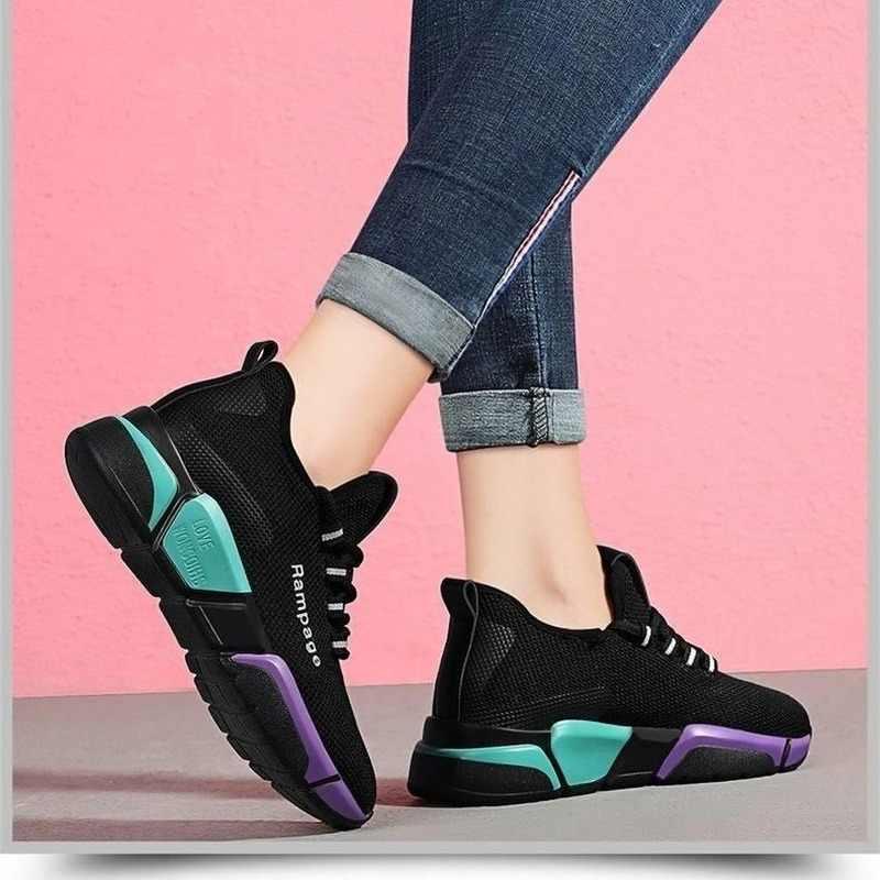 Tenis Giày Người Phụ Nữ Năm 2020 Mùa Xuân Mới Thời Trang Nữ Màu Đen Lưới Thoáng Khí Đế Giày Feminino Zapatos De Mujer