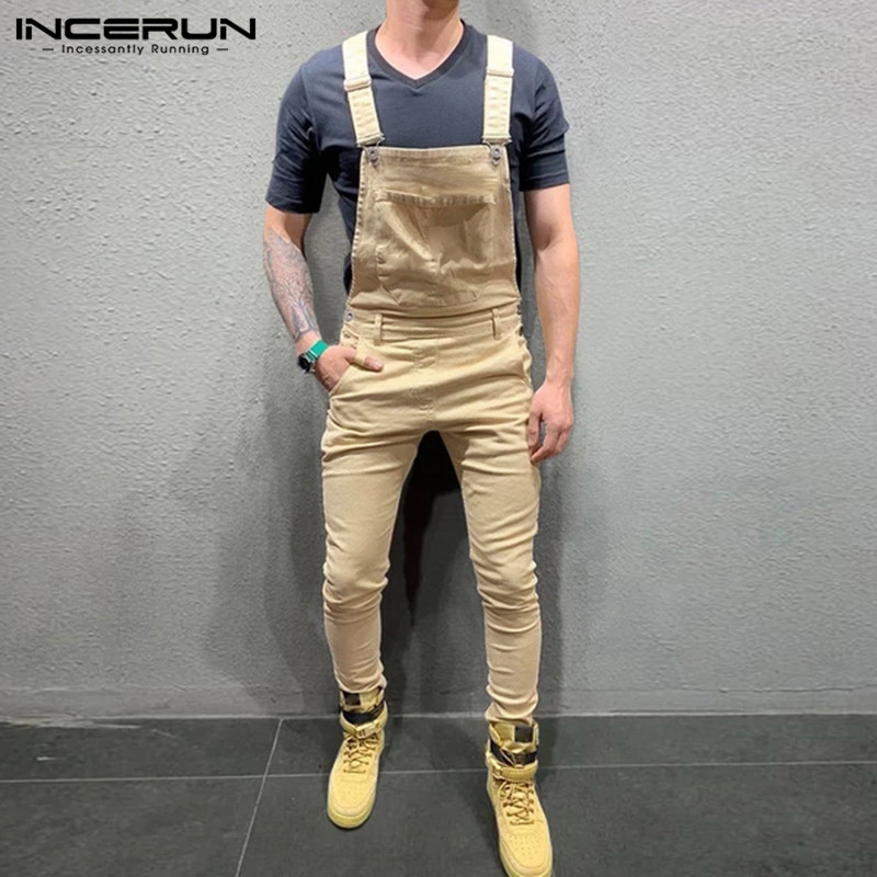 INCERUN Fashion Men Jumpsuit Solid Joggers Suspenders Pockets Fitness Streetwear Trousers Casual Bib Pants Men Overalls 2020 5XL
