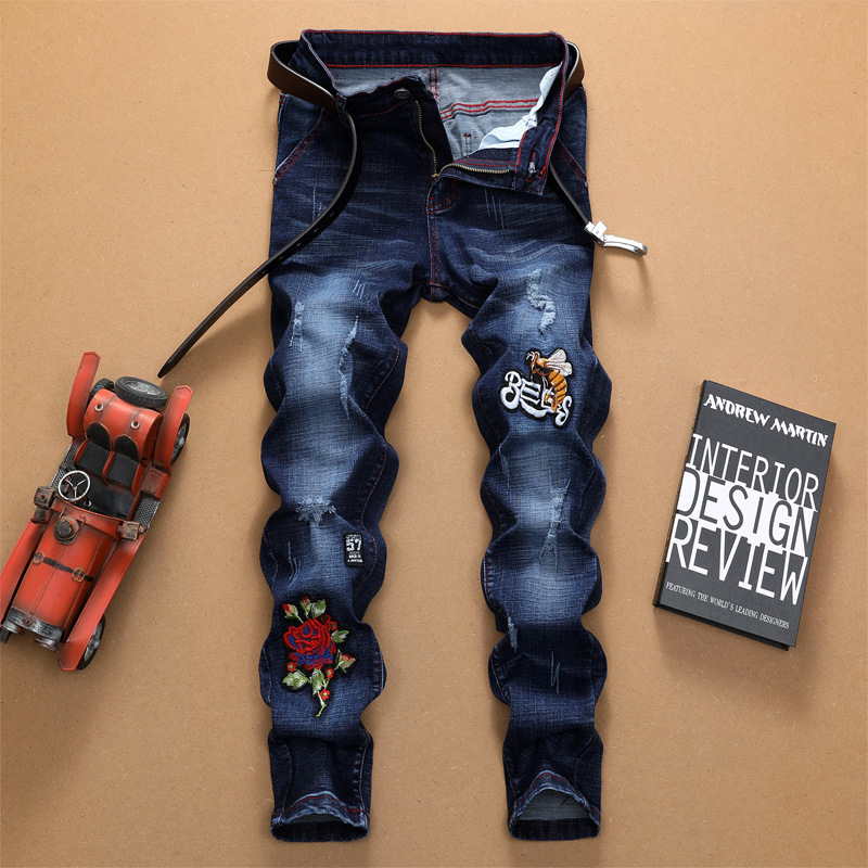 2018 Embroidery Jeans Men'S Wear Skinny Pants New Products Cool Men Pencil Pants Long Pants