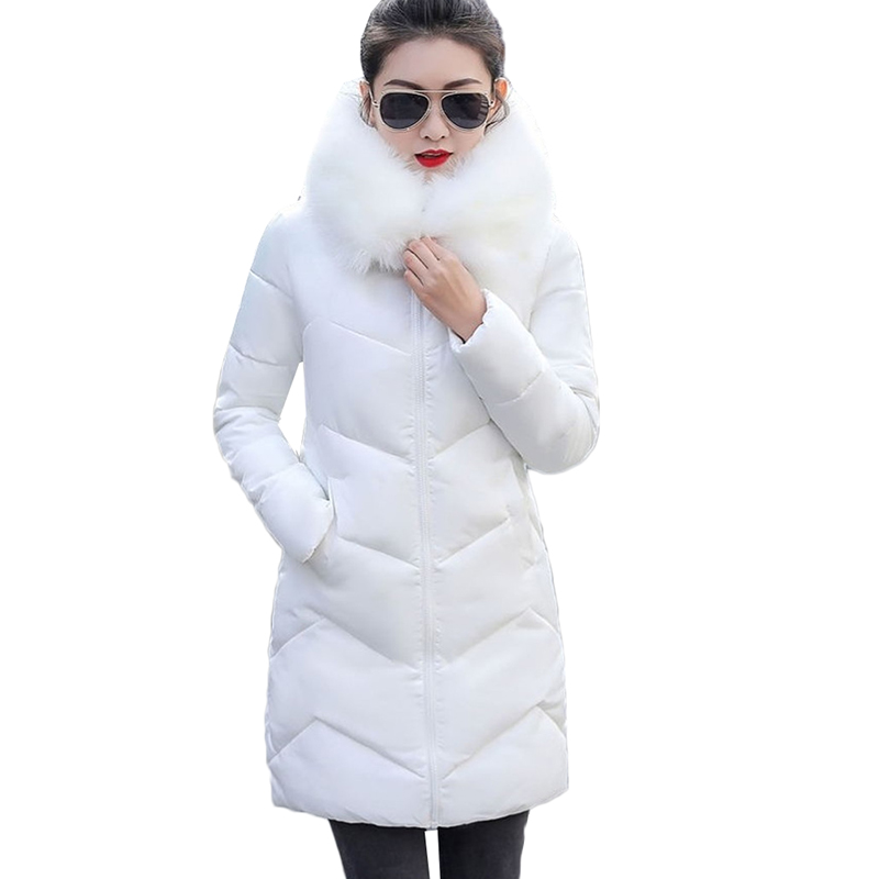 Winter Coat Women Thicken Down Cotton Jacket Hooded Fur Collar Mid-Long Outerwear Warm Snow Cotton Padded Jacket