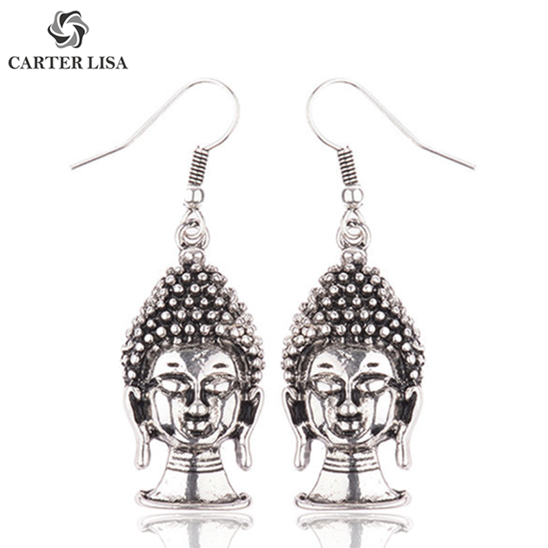 CARTER LISA India Thailand Buddha Head Silver Drop Dangle Hook Earrings For Women Bohemian Ethnic Jewelry Accesorios Mujer