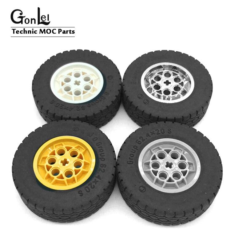 Lego Car Parts 80 Pcs 20 BLACK Tires 20 GREY Rims 20 GREY Axles 20 Pins
