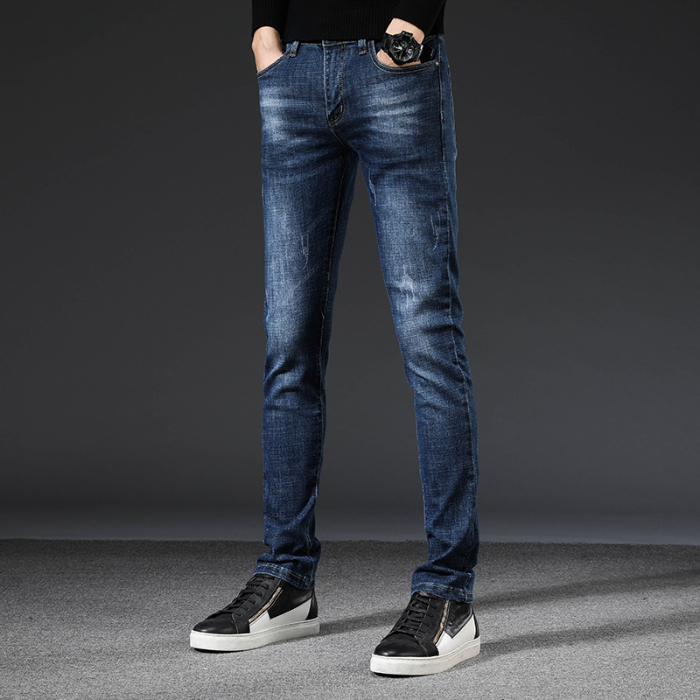 Jeans Men's 2019 Autumn And Winter New Men's Jeans Stretch Feet Casual Slim Men's Trousers