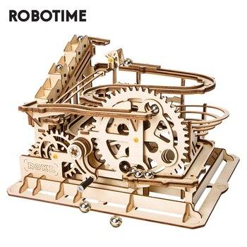 Etiqueta: DIY juguetes de mármol juego 3D rompecabezas de madera engranaje rueda hidráulica de Montaña Rusa modelo set de construcción de juguetes para los niños adultos LG501