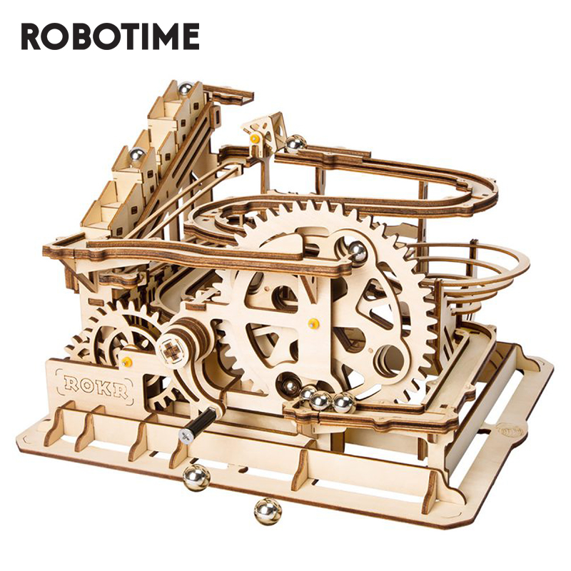 Robotime ROKR DIY Marble Run Game 3D Wooden Puzzle Gear Drive Waterwheel Coaster Model Building Kit Toys For Children LG501