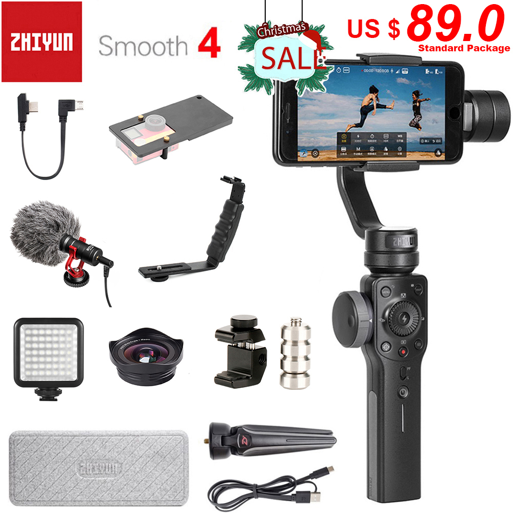 Get Zhiyun Smooth 4 3-Axis Handheld Smartphone Gimbal Stabilizer for iPhone 11 Pro XS XR X 8Plus 8 Samsung S10 S9 S8 & Action Camera