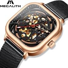 MEGALITH 2019 الوافدين الجدد العلامة التجارية الأعلى التلقائي ساعة ميكانيكية الرجال موضة عادية مقاوم للماء ساعة رجل ساعة Relogio Masculino