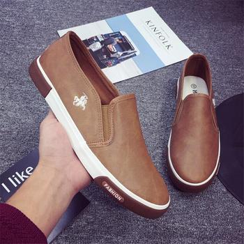 39-45 2019 męskie skórzane buty trampki Outdoor męskie męskie mokasyny marki męskie buty Casual skórzane buty na płaskie buty męskie tanie i dobre opinie NoEnName_Null RUBBER S602 Lace-up Pasuje prawda na wymiar weź swój normalny rozmiar Stałe Oddychająca Fabric Płótno
