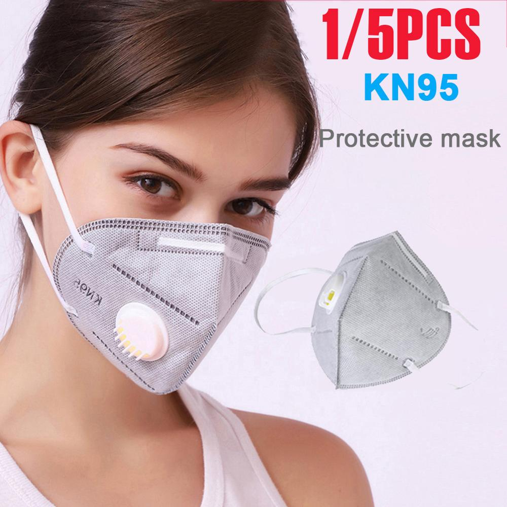 5Pcs Reusable KN95 Mask - Valved Face Mask N95 Protection Face Mask 95% Filtration Protective Mask Anti-virus Face Mask
