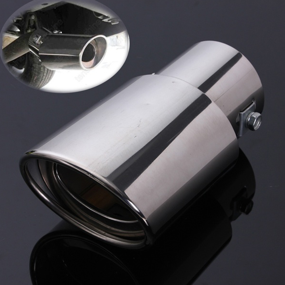 Universal Stainless Steel Chrome Car Tail Rear Straight Round Exhaust Muffler Pipe Tip