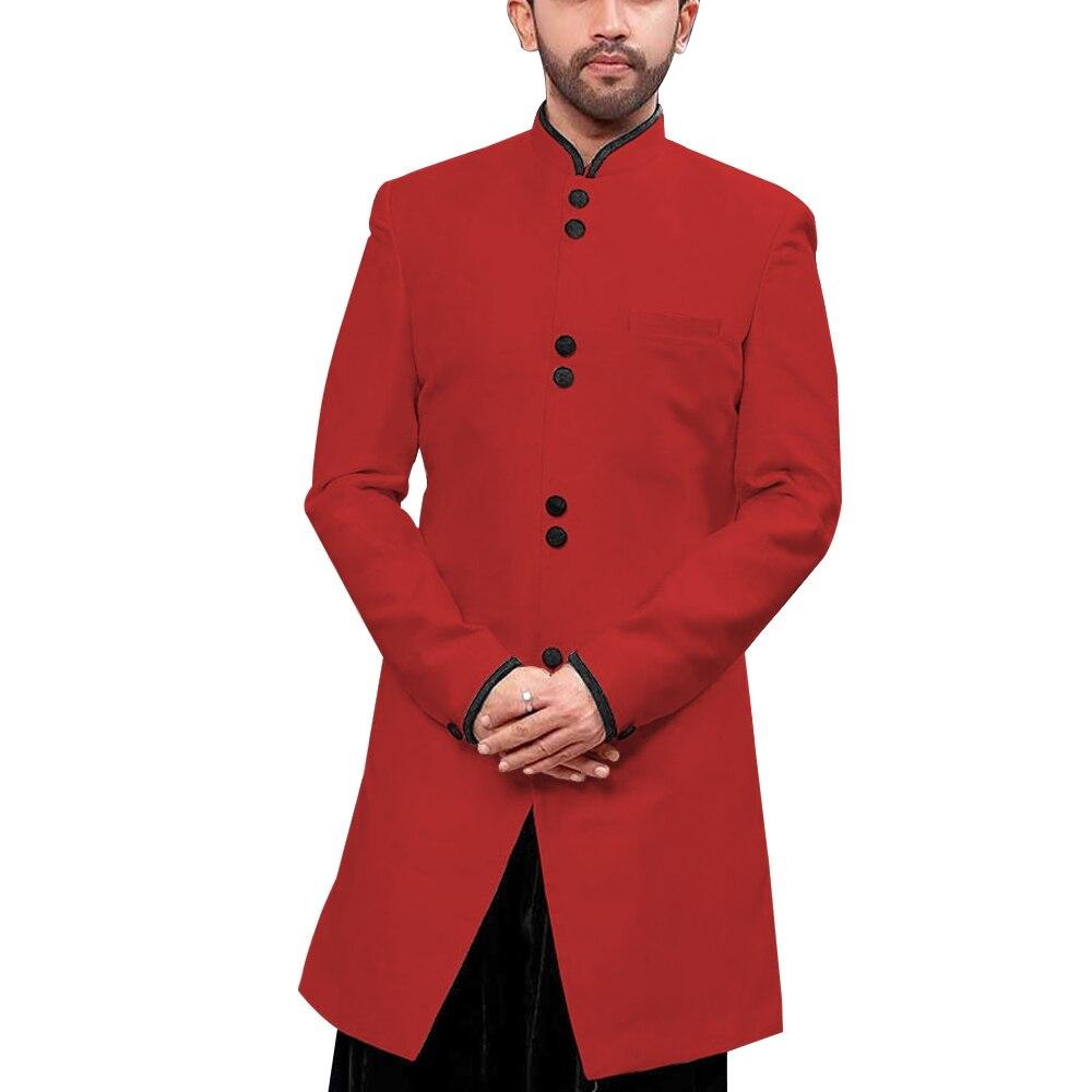 Mandarin Kragen Traditionelle Männer Anzug Jacke Stand up Kragen Modest Lange Blazer Indische Formales Ereignis Mantel Hochzeit Bräutigam Oberbekleidung - 2