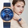 2020 LIGE, женские часы, Лидирующий бренд, роскошные женские ультратонкие часы с сетчатым ремешком, водонепроницаемые часы из нержавеющей стали...