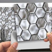 Funlife®Серебряная Шестигранная Наклейка на стену легко чистится
